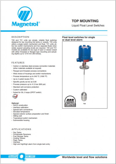 TOP MOUNTING Liquid Float Level Switches