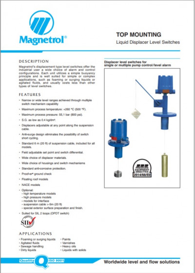 TOP MOUNTING Liquid Displacer Level Switches