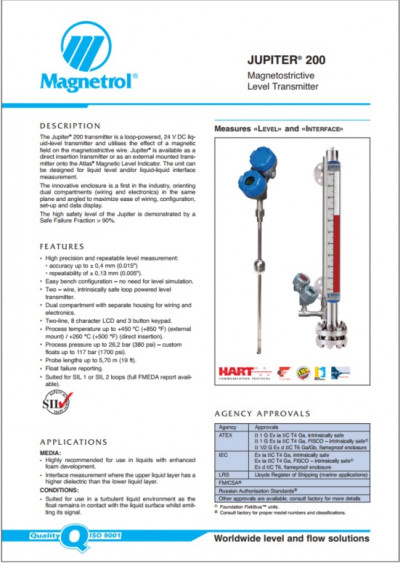 JUPITER Magnetostrictive Level Transmitter
