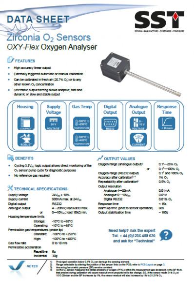 Analizador oxígeno